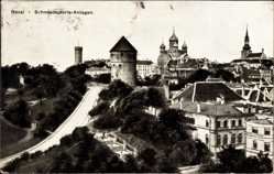 Postcard Tallinn Reval Estland, Blick auf die Schmiedepforte Anlagen, Kirche