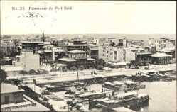 Postcard Port Said Ägypten, Panorama der Stadt, Hafen