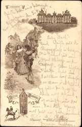 Litho Cheverny Indre et Loire, Elixier Combier, Schloss, Tänzer, Reiter