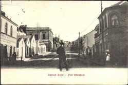 Postcard Port Elizabeth Südafrika, Russell Road, Straßenpartie, Geschäfte