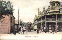 Postcard Wynberg Südafrika, Main Road, Kutsche, Straßenbahn, Polizist