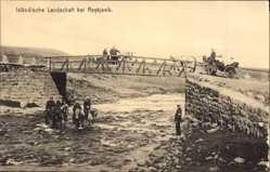 Postcard Reykjavík Island, Isländische Landschaft, Reiter, Kutsche, Fluss, Brücke