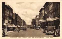 Postcard Tiffin Ohio USA, Washington Street, looking North from Madison Street
