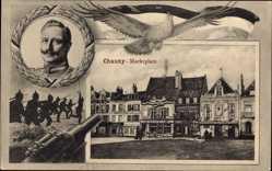 Passepartout Ak Chauny Aisne, Marktplatz, Kaiser Wilhelm II. von Preußen