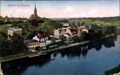 Postcard Kröllwitz Halle Saale, Blick über die Stadt mit Fluss und Kirche