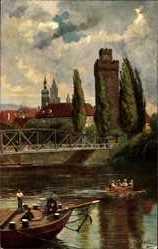 Künstler Ak Hoffmann, H., Heilbronn am Neckar, Brücke, Götzenturm