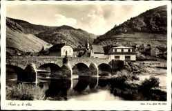 Postcard Rech im Kreis Ahrweiler, Flusspartie, Brücke, Ortschaft, Landschaft