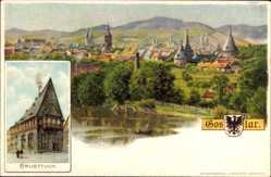 Litho Goslar in Niedersachsen, Gesamtansicht des Ortes, Brusttuch