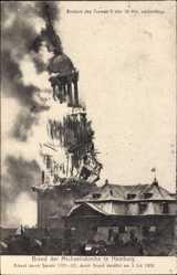 Postcard Hamburg, Brand der Michaeliskirche 3. Juli 1906