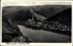 Postcard Oberwesel im Rhein Hunsrück Kreis, Flusspartie mit Stadtblick