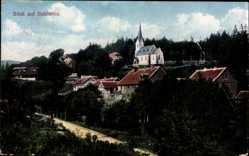Postcard Schierke Wernigerode Harz, Teilansicht des Ortes mit Kirche