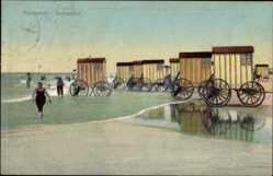 Ak Norderney in Ostfriesland, Strandpartie am Damenbad, Wägen