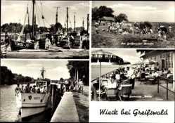 Postcard Wieck Greifswald in Mecklenburg Vorpommern, Ho Gaststätte Utkiek, Dorsch