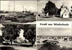 Postcard Mönkebude Kreis Ueckermünde, Kirche, Strandkörbe, Boote, Meer
