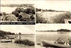 Postcard Jabel Mecklenburg Vorpommern, Bootsanlegestelle, Blick auf den Ort, See