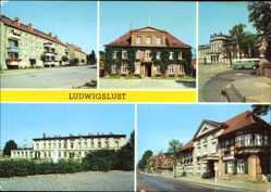 Postcard Ludwigslust in Mecklenburg Vorpommern, John Brinckman Straße, Rathaus,Schloss