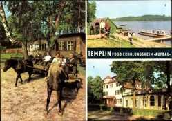 Postcard Templin Brandenburg, FDGB Erholungsheim Aufbau, Pferdekutschen, Bad
