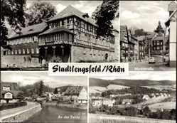 Postcard Stadtlengsfeld im Wartburgkreis, Marktstraße, Borntalsiedlung, Diätsanatorium