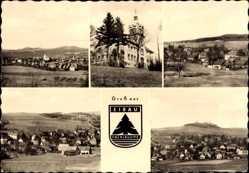 Wappen Ak Eibau Kottmar Oberlausitz, Schloss, Totalansicht der Ortschaft