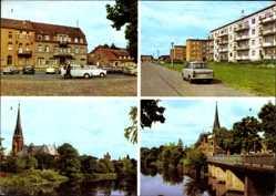 Postcard Torgelow an der Uecker, Albert Einstein Str., Ueckerbrücke, Flusspartie