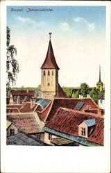 Postcard Tartu Dorpat Estland, Blick auf die Johanniskirche, Hausdächer