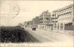 Ak Dieppe Seine Maritime, La Rue Aguado, Straßenpartie, Hôtel des Étrangers