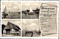 Postcard Lembruch in Niedersachsen, Dümmersee, Bootsanleger, Niedersachsenhaus