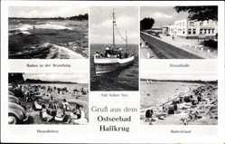 Postcard Ostseebad Harrkrug, Strandhalle, Strandleben, Badestrand