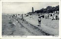 Postcard Ostseebad Laboe, Strand und Ehrenmal, Badegäste