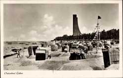 Postcard Ostseebad Laboe, Badestrand, Marinedenkmal, Sandburgen