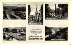 Postcard Bodenwerder Weser, Münchhausenstraße, Münchhausenhaus, Weserbrücke