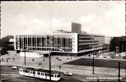 Postcard Gelsenkirchen, Städtische Bühnen, Straßenbahn, Autos