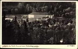 Postcard Ilmenau im Ilm Kreis Thüringen, Festhalle vom Lindenberg gesehen