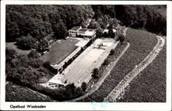 Postcard Wiesbaden in Hessen, Fliegeraufnahme, Freibad, Schwimmbecken