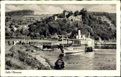 Postcard Polle an der Weser in Niedersachsen, Anlegestelle, Weserdampfer