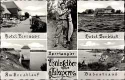 Postcard Cloppenburg in Niedersachsen,Sportangler,Thülsfelder Talsperre,Hotel Seeblick