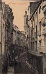 Postcard Valls Katalonien, Calle Baldrich, Straßenpartie, Kirchturm