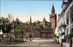 Postcard Sevilla Andalusien, Vue générale sur la Cathédrale, Straße