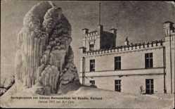 Postcard Bauska Bauske Lettland, Springbrunnen vor Schloss Bornssmünde, Frost