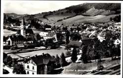 Postcard Spital am Semmering Steiermark, Totalansicht der Ortschaft, Kirche
