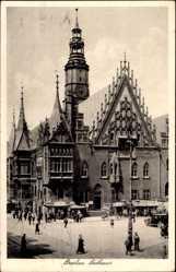 Postcard Wrocław Breslau Schlesien, Ansicht des Rathauses mit Glockenturm