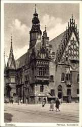 Postcard Wrocław Breslau Schlesien, Rathaus, Südostecke, Ratusz, Ring, Rynek