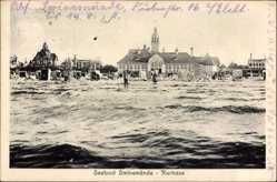 Postcard Świnoujście Swinemünde Pommern, Kurhaus, Seebad, Strand