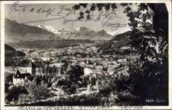 Postcard Spiez Kt. Bern Schweiz, Panorama der Ortschaft, Burg