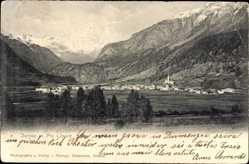 Postcard Zernez Kt. Graubünden, Panorama, Piz Linard, Siedlung im Tal