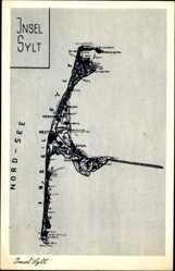 Landkarten Ak Insel Sylt, Westerland, Keitum, Nordsee, Braderup, Marsum