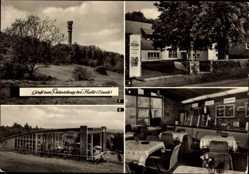 Postcard Petersberg Halle an der Saale, Fernsehturm, HO Gaststätte, Pavillon