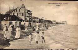 Postcard Wyk auf Föhr in Nordfriesland, Strandpartie, Kinder im Wasser, Meer