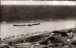 Postcard Insel Borkum im Kreis Leer, Am Cafe Sturmeck, Strand, Meer, Fliegeraufnahme