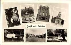 Postcard Husum in Nordfriesland, Kirche, Nissenhaus Portal, Schlosspark, Hafen